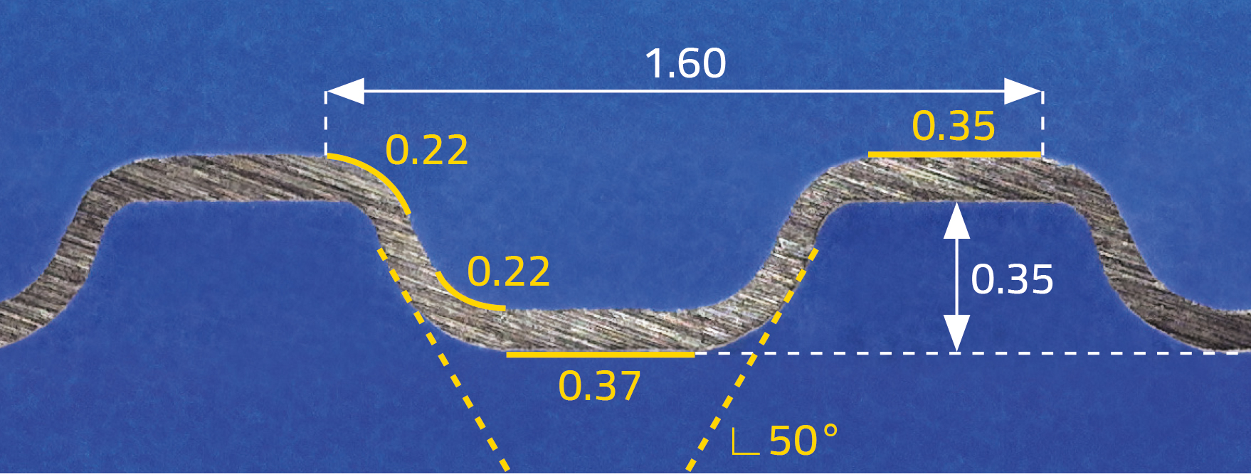 microsection of a hydroformed precoated plate