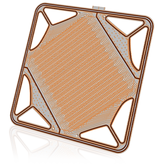 CAD model of a plate for fuel cells