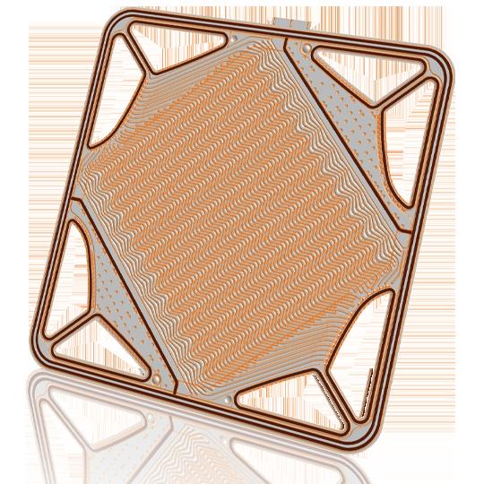 CAD-Zeichnung einer Platte für Brennstoffzellen
